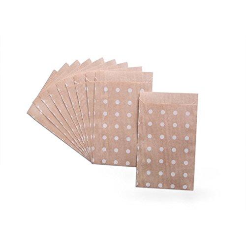 Lot de 10 sachets Papier Marron avec Beige points blancs - 9,5 x 14 cm pour Emballer, gastgeschenktüten, calendrier de l'avent Sachets à petits cadeaux, scrapbooking, etc.?; 1 A de qualité