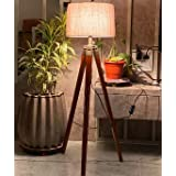 Nautical Home Decor Natural Teak Wooden Crafter Standard Size Tripod Floor Lamp with Jute Shade and Bulb Home Decors Gift