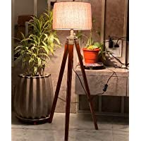 Nautical Home Decor Natural Teak Wooden Crafter Standard Size Tripod Floor Lamp with Jute Shade Home Decors Gift