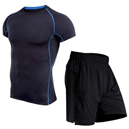 ESAILQ Herren Fitness Bodybuilding Skin Eng Trocknendes Kurzarmhemd Tops Hosenanzug(XXXX-Large,Blau)