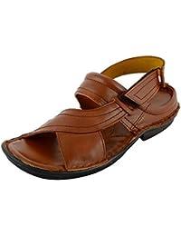 Rojyo Men's Black Leather Outdoor Sandals- sandal gladiator Sandals flip Flops platform Sandals black Sandals ...