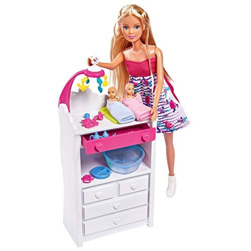 Schwangere Steffi Love Schwangere Puppe Zwillinge Twins Babyzubehör 29cm Wickelkommode Modepuppe Spielzeug Ankleidepuppe Puppen Puppenzubehör Zubehör Rollenspiel Ankleiden Puppenkleidung Anziehsachen