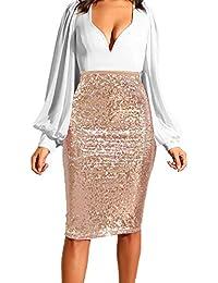 4fb985b1db9d LianMengMVP Mini Vita Alta Vestito da Festa Casual Vestito Donna per  Paillettes Gonna Donna Maxi Decorazione