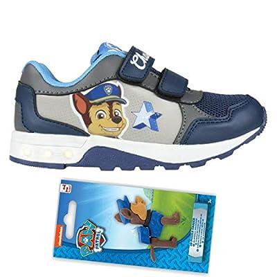 Patrulla Canina - Zapatillas Deportivas con Luz Cierre de Velcro, Deportivas Led Color Azul Chase Paw Patrol + Goma de Borrar Figura Puzzle de Regalo