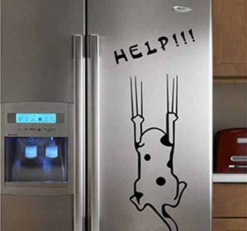 r Nette Schwarze Weiße Katze Wandaufkleber Cartoon Dekoration Für Kühlschrank Küchenschrank Adesivo De Parede Infantil ()
