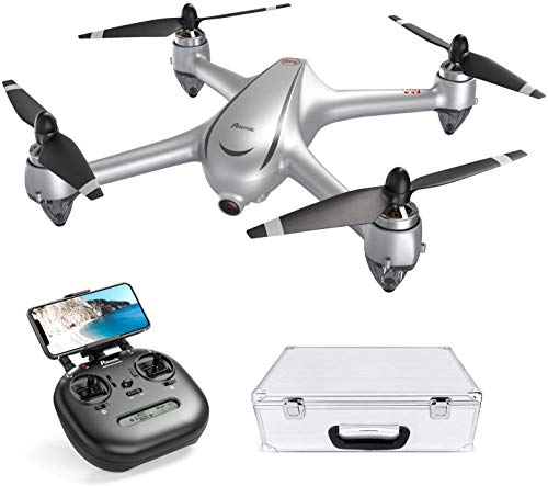 Potensic GPS Drohne, FPV RC Quadrocopter, 2K HD Kamera, Bürstenloser Motor, Dual GPS, 5,0 GHz WiFi Live Übertragung, 16 min Flugzeit, Eine Taste Start / Landung, Kopflos Modus, mit Koffer D80