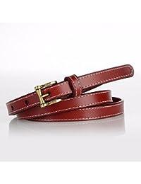 a923ac1bb ZHANGYONG Botones de Cuero Genuino para Mujeres, Hebillas, Cinturones  Finos, Vestido Decorativo, Cinturones de Moda Retro, anudados.