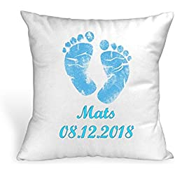 Kissen Name und Datum ♥ Blau ♥ Geburt ♥ Taufe ♥ 40cmx40cm ♥ personalisiert