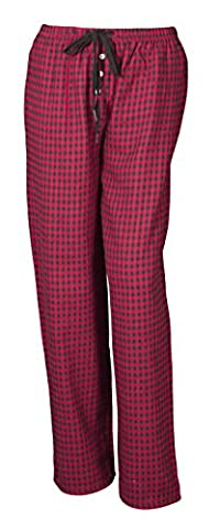 Ladies Soft Lounge Pants Bottoms Pyjamas Nightwear Checked Flannel Pyjama Bottom(UK-55) (LARGE, RED / BLACK CHECK)
