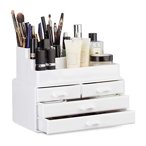 Relaxdays Make Up Organizer mit 4 Schubladen, Kosmetik Halter f. Nagellack u. Lippenstift, Make Up Kit aus Acryl, weiß -