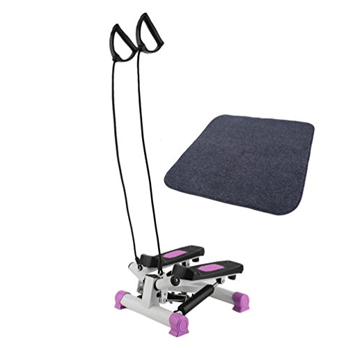 Homgrace Up-Down Stepper Heimtrainer Mini-Stepper Zuhause Fitness Aerobic Ausdauertraining Stepper mit LCD Trainingscomputer & Expander-Bänder & Matte (Rosa)