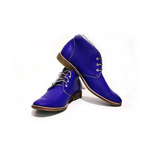 PeppeShoes Modello Bresica - 39 - Handgemachtes Italienisch Bunte Herrenschuhe Lederschuhe Herren Blau Stiefeletten Chukka Stiefel - Rindsleder Geprägtes Leder - Schnüren -