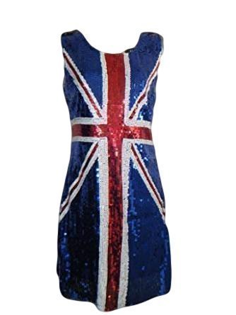 (Damen Kostüm Paillettenkleid Union Jack Flagge Sexy Ginger Spice Girls Rule Britannia (36-38))
