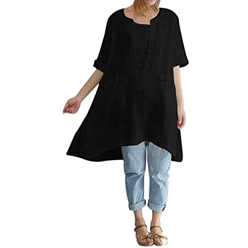 OverDose Damen Casual Übergröße Unregelmäßige Mode Lose Leinen Kurzarm Shirt Vintage Bluse Fest Hemd Lang Tank Tops T-Shirt Freizeit Oberteile Tees(Y-Schwarz,L)