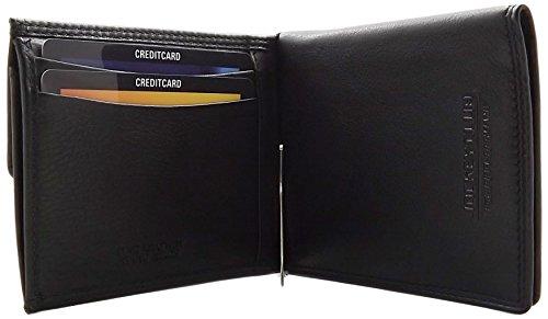 Echt Leder Geldbörse mit Geldklammer und seperaten Kartenfächern in Schwarz - Echte Leder-geldbörse