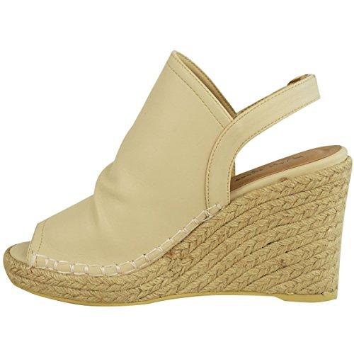 Neuf Pour Femmes Sandales Espadrille Semelle Compense Semelle Compensée Talon Bas Chaussures D'été Taille Couleur Chair Doux Faux Cuir
