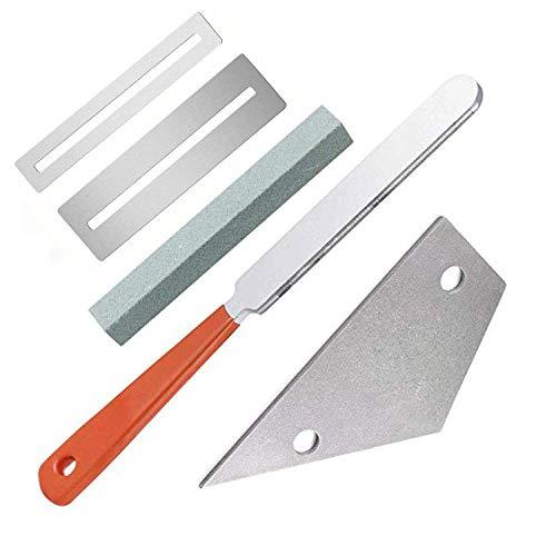 El kit de herramientas para guitarra Luthier contiene 1 lima de luthier para traste de guitarra, 1 balancín de acero inoxidable, 2 protectores de protectores para tabla de dedos y 1 piedra de molienda