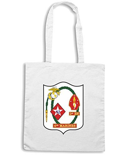 T-Shirtshock - Borsa Shopping TM0302 1st Battalion 6th Marine Regiment USMC usa Bianco