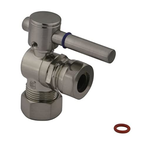 Kingston Brass CC54308DL Concord Quarter Turn Valve with 1/2-Inch or 7/16-Inch Slip Joint, Lever Handle, Satin Nickel by Elements of Design