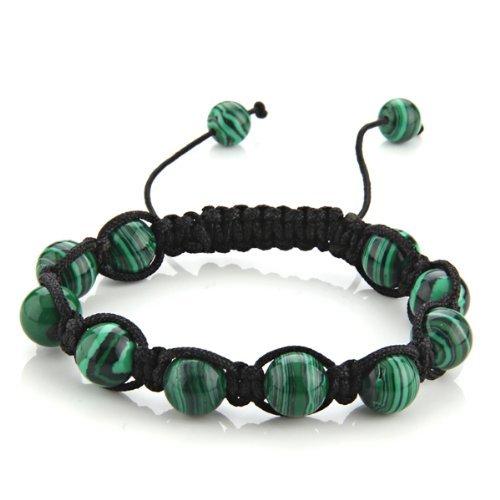 Gleader bracciale braccialetto regolabile in pietra malachite mm 10