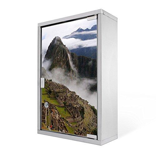 #Medizinschrank groß Edelstahl abschliessbar 30x45x12cm Arzneischrank Medikamentenschrank Hausapotheke Erste Hilfe Schrank Motiv Machu Picchu#