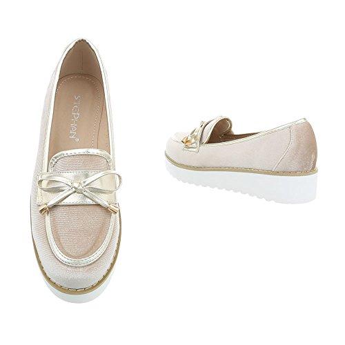 Ital-Design Chaussures Femme Mocassins Plat Slippers beige JN-37