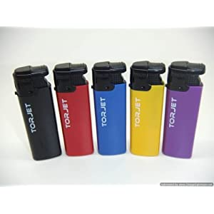 41xLlRsgF5L. SS300  - 5 x TorJet Windproof Turbo Lighters Powerful Refillable Red Purple Black Yellow Blue Electric