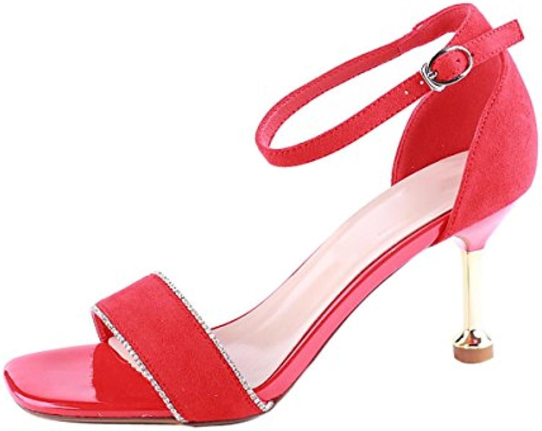 KPHY Zapatos de Mujer/En Verano 8 Cm Zapatos De Tacon Alto Bien con La Moda Sandalias Sexy Taladro De Agua Tarde...