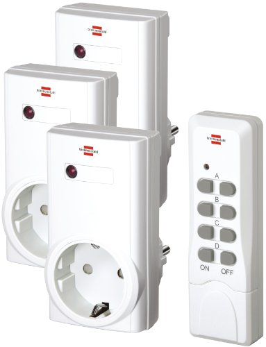 Brennenstuhl Funkschalt-Set RCS 1000 N Comfort (3er Funksteckdosen Set Innenbereich, mit Handsender und Kindersicherung) weiß