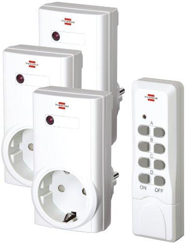 funksteckdosen set Brennenstuhl Funkschalt-Set RCS 1000 N Comfort (3er Funksteckdosen Set Innenbereich, mit Handsender und Kindersicherung) weiß