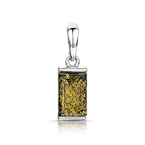 Amberta 925 Sterling Silver with Baltic Amber – Classic Rectangular Pendant - Green Colour