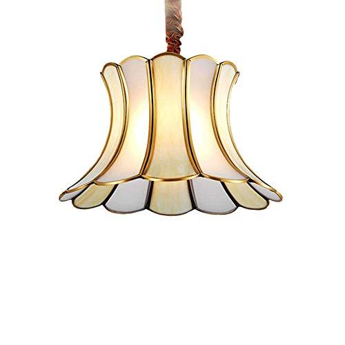 MoiHL Blume Glas Schatten Kronleuchter Restaurant Schlafzimmer Wohnzimmer Europäischen Kupfer Pendelleuchte, 25 cm * 30 cm,38CM * 30CM -