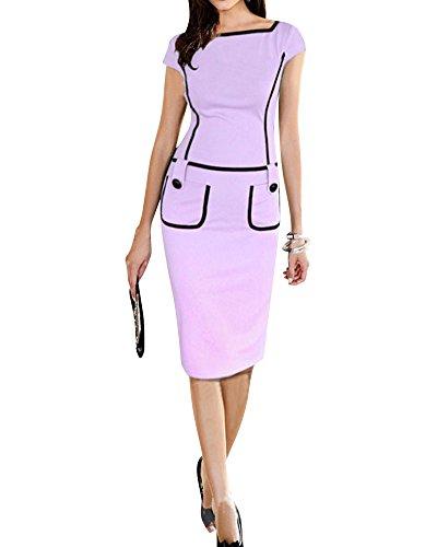 SaiDeng Damen Elegantes Kleid Mit Taschen Etuikleid Knielang Abendkleid Violett