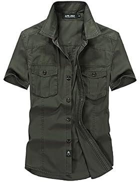 AFS JEEP - Verano Camisa Para Hombre Manga Corta Moda Casual-ejército verde 661