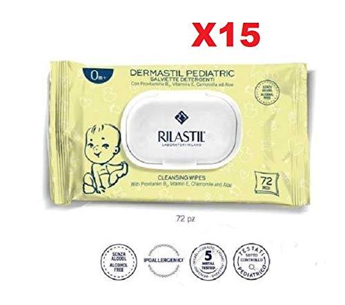 RILASTIL DERMASTIL Pediatric SALVIETTE SALVIETTINE DETERGENTI 0M+ 72 Pezzi 15 Confezioni