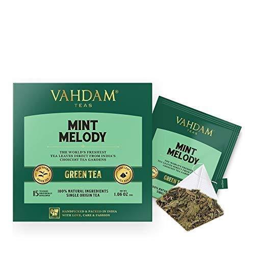Grüner Minze Tee, 30 Pyramiden-Teebeutel - Long Leaf Grüne Teeblätter aus dem Himalaya gemischt mit 100 {a7f0724f95d054146d1fd623f78eb4ee398b5260a972dbff9eebfd77acc59ee3} NATÜRLICHER pfefferminztee - Gartenfrischer Minztee (2 Boxen, je 15 Tea Bags)