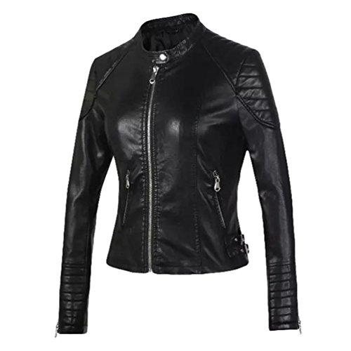 Baymate donna vintage giubbotto da motociclista in finta pelle giacca slim fit ggiubbino corto jacket