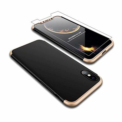 Coque iPhone X Étui 360° Housse AILZH PC Hard Shell Anti-Choc 360 Degrés Full-Cover Case Scratch Pare-Chocs Matte Casque de Protection +Film de Verre ...