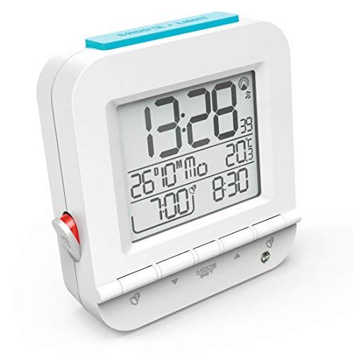 """Hama Funkwecker \""""Dual Alarm\"""" (zwei Weckzeiten, ansteigender Weckton, sensorgesteuerte Nachtlicht-Funktion, Snooze, Temperatur, Datum, batteriebetrieben) Wecker Digital Funkuhr weiß"""