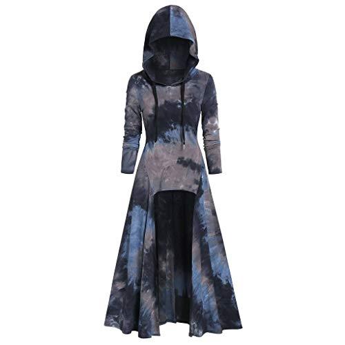 Damen Mittelalter Umhang Kleid mit Kapuze Halloween Cosplay Kostüme,Frauen Tie dyeing Hoodie Langarmshirts Partykleid Große Größen Renaissance Cloak Bluse S-3XL