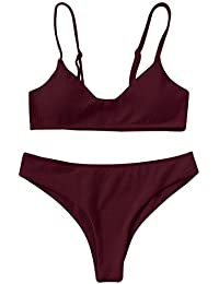 CharMma Damen Badeanzug High Cut Bralette Bikini Set