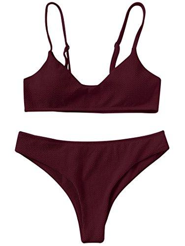 et Zweiteilige Badeanzug High Cut Bralette Sexy Swimsuit Sommer (Weinrot, XL) ()