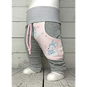 Baby Pumphose mit Tasche Gr. 50-104 Hafenkitz Sweet Dreams Hellgrau Rosa handmade Puschel-Design