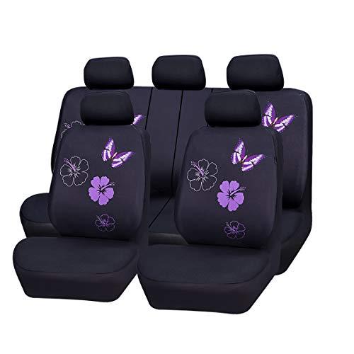 CAR PASS Universal Auto Schonbezug Komplettset Sitzbezüge für Auto Mit Butterfly (Sitzbezüge Butterfly)
