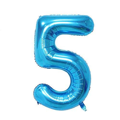 ShopVip Globos de cumpleaños - número 5 - Decoración Cumpleaños gigante de bodas 80 CM - Número de globo gigante azul - Número de globo 5 años - Número 5 - 50 años