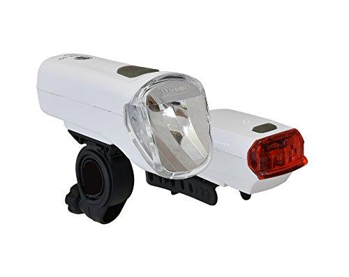 Büchel 60 Lux LED-Batterieleuchtenset TrioLux Pro plus Rücklicht - StVZO zugelassen für alle Fahrräder, weiß, 51125481 -