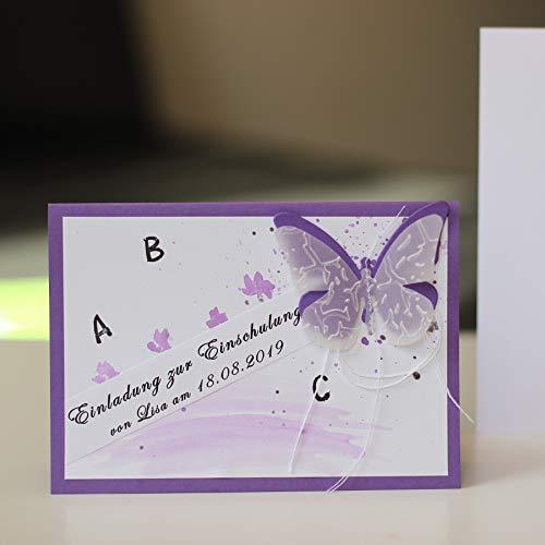 6 personalisierte Einladungskarten Einladung Schuleinführung Einschulung 1. Schultag Schulanfang Schmetterling flieder Mädchen Handarbeit binnbonn