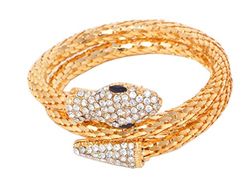 (Evil Wear Schlangen Armband Wickelarmband Damenarmband Strass flexibel elegant (Gold))