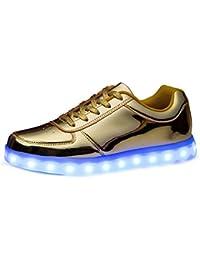 (Present:kleines Handtuch)Gold EU 34, USB 7 JUNGLEST® LED Sports Schuhe Ladegerät Farben Damen Turnschuhe Leuchten Luminous Unisex P