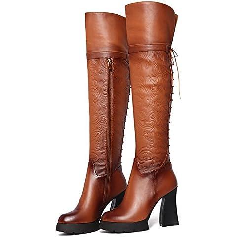Sello tira transversal Knight botas muy alto con la rodilla botas , Amarillo ,37